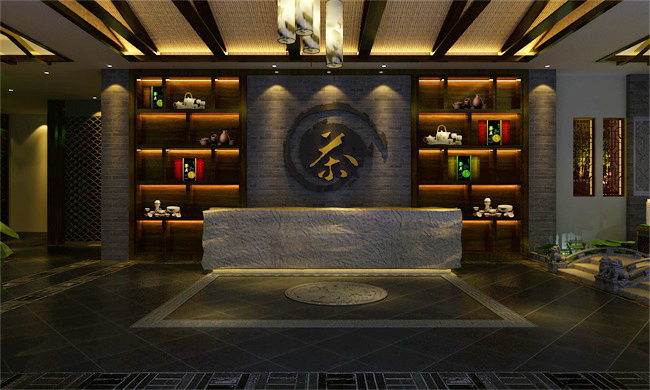 新中式风格茶楼前台效果图设计