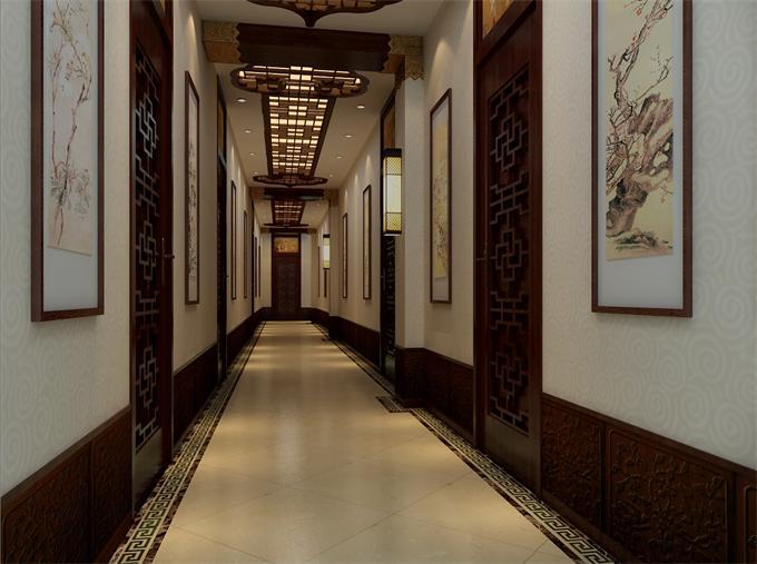 新中式风格会所走廊设计效果图高清图片