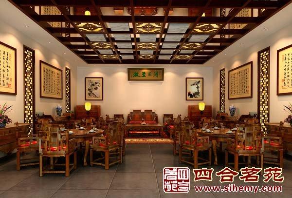 四合茗苑中式装修供应莆田仙游福辉世家红木家具展厅设计