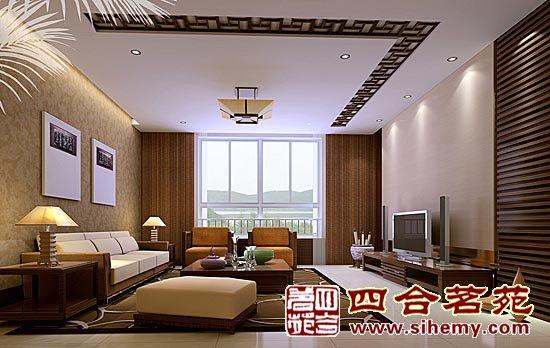 中式客厅手绘效果图 窗帘手绘效果图 中式装修窗帘效果图